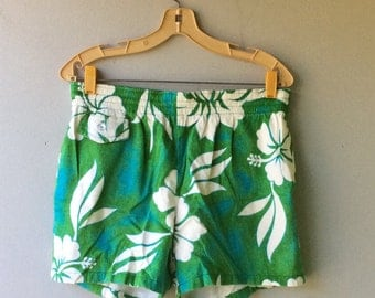 JULY SALE - 1960s BARKCLOTH Men's Bathing Suit Trunks  // Sz Large