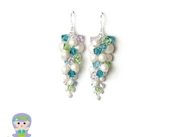 Summer Outdoors Mermaid Earrings Cascading Cluster Iridescent White Pearl Swarovski Crystal in Turquoise Peridot Violet Silver Beach Jewelry