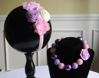 Pink and Purple Headband and Necklace Set Flowers on Skinny Elastic Headband Rhinestone Center Birthday Girl Toddler Baby Prop Photo Shoot