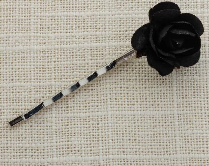 Black Flower Paper Rose Silver Hair Clip Embellished Bobby Pin Handmade in USA Hair Pins 16V