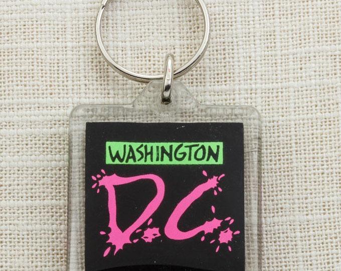 Vintage Washington D.C. Keychain Neon Black Totally 90s Souvenir Key FOB Key Chain 16U