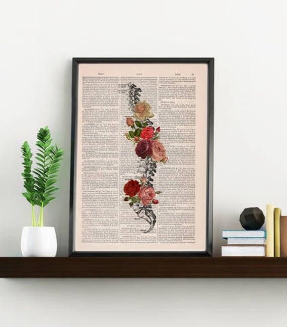 Springtime Spine Decorative Art, Flowers on Skull ,Nature Inspired Print, Decorative Art, Wall hanging Spine print,Trunk Art flowers SKA137