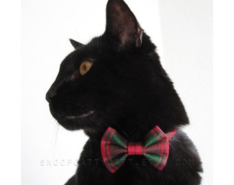 Cat Bow Tie - Tinsel Tartan - Red and Green Plaid