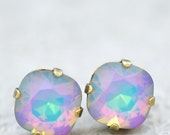 White Opal Rainbow Earrings Studs Swarovski Crystal White Opal Purple Blue Rainbow Earrings Clip Ons Leverback Pastel Aurora Borealis Bride