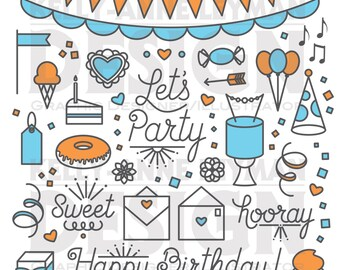 Happy Birthday—Let's Party Clipart—Word Clip Art Set—Commercial Use—Digital Download Art—Vector Graphics