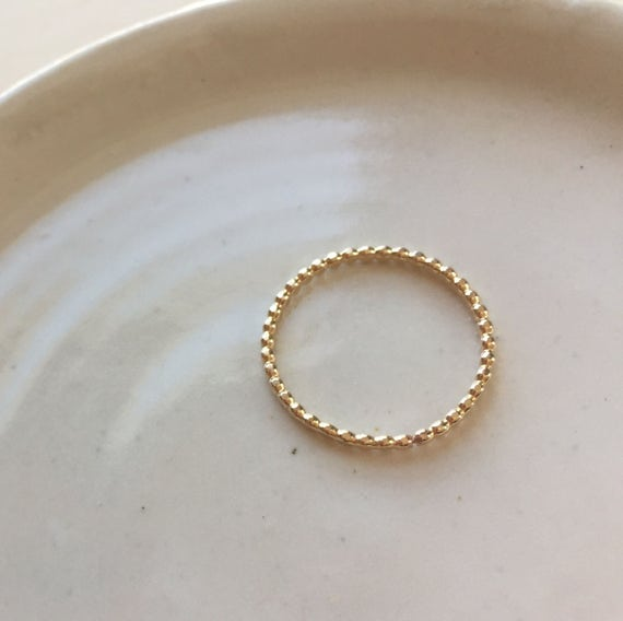 Gold Dot Ring,  14k gold fill