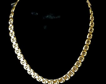 Vintage Napier Necklace Woven Chain Polished Gold Tone 1970s