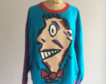 Vintage PEE WEE Sweatshirt Mismatched Color Blocking Sleeves Pee Wee Herman Cartoon