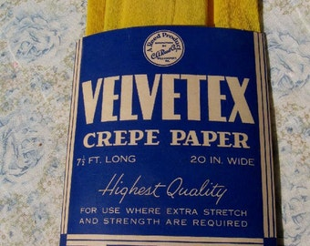 Vintage Bright Canary Yellow Crepe Paper 1940s Package of Velvetex Party Projects Decorations Flower Making