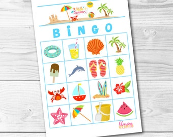 BINGO Summer Beach Party End of School Celebration Digital Download Luau