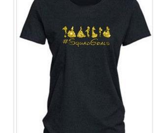 """Squad Goals, Disney Shirt, #SquadGoals, """"Squad Goals"""" T shirt, Run Disney Shirt, Ladies Disney Shirt, Disney Princess Shirt, Disney Top, RTS"""