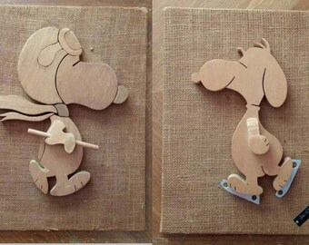Vintage Snoopy Done in Wood Against Burlap Background