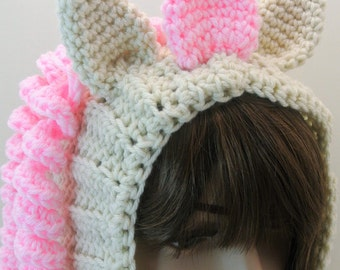 Crochet Women's Snood Beige and Pink Unicorn Made To Order