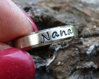 Mother's Ring, Personalized Name ring, hand stamped ring, Personalized stacking ring, Name ring, custom wedding band, Personalized Name ring