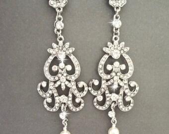 Brides earrings, Pearl earrings, Pearl wedding earrings, Long crystal chandelier earrings, Vintage style wedding earrings~ ALEXIS