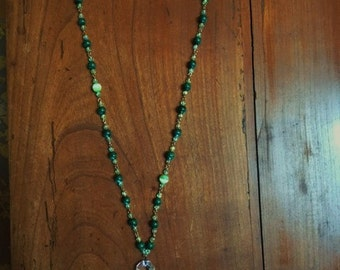 Vintage Rosary and Antique Chrystal Chandalier Drop Necklace