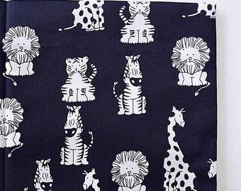 Navy Blue Zoo Animal Fabric, Childrens Fabric, Cute Fabric, Nursery Fabric