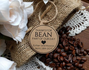 Thanks For BEAN Part Of Our Day Wedding Favour Tags Coffee Bean