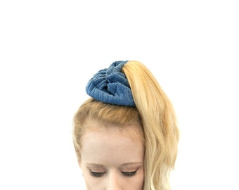Pony Tail Holder, Scrunchie , Hair Scrunchies PonyTail Wrap, Blue Hair Ties Sister Gift Womens Gift for Her Best Friend Gift, Hair Accessory