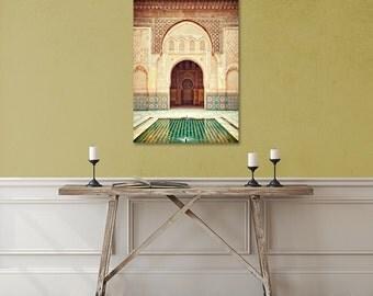 Morocco Canvas Art, Travel Decor, Large Canvas Print, Ethnic Photo, Moroccan Mosaic Tiles, Islamic Wall Art, Marrakech, Emerald, Zen, Door
