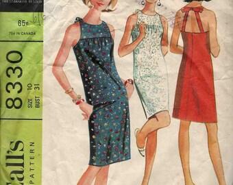 McCalls 8330 Front yoke halter neck type straps back facing neckband seam hook & eye closure racer back zip Size 10 Vintage c.1966