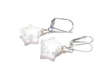 Murano Glass Clear Star Silver Earrings, Italian Jewelry, Lampwork Glass Earrings, Post Earrings, Sterling Silver Leverback Earrings
