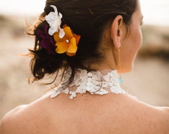 Orange Flower Hair Clips, Hydrangea Hair Pins (2 pcs), Bridesmaids Accessories, Hydrangea Floral Pins with Rhinestones Centers