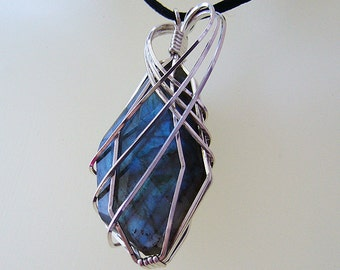 Ariane - Wire Wrapped Labradorite and Sterling Silver Pendant