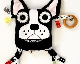 Boston terrier baby toy lovey teething keepsake friend