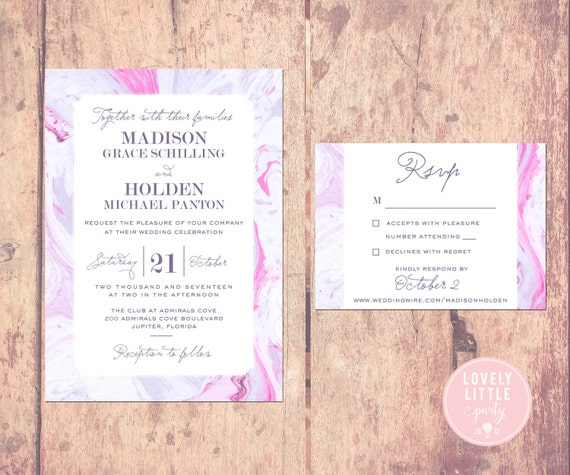Pink Madison Marble Collection Wedding Invitation and RSVP design - DIY Printable or Printed Option - Lovely Little Party