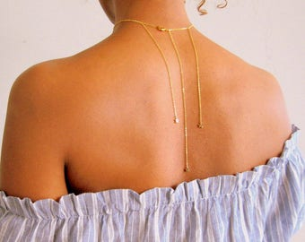 Shooting Star Gold Choker, Dainty Backdrop Necklace, Dainty diamond necklace, gold star choker, gift for her, girlfriend gift, boho necklace