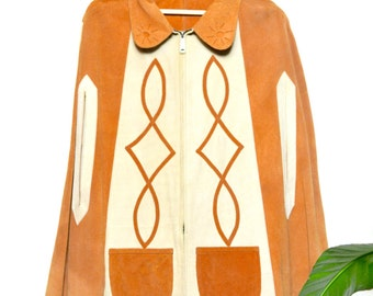 70s suede poncho / vintage two tone leather poncho