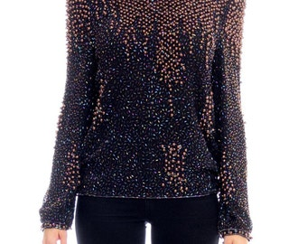 1980s Pearl Beaded Top Size: M/L