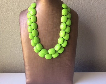 Green statement necklace, chunky green necklace, double strand necklace, lime green jewelry, beaded jewelry, everyday necklace, green