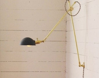 Industrial Brass Scissor Lamp - Industrial Pharmacy Articulating Boom Wall Light - Brass Lamp and Gas Station Style Black Parabolic Shade