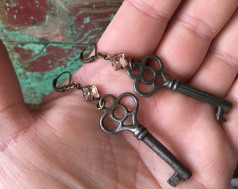 Vintage Skeleton Key & Pink Rhinestone Crystal Dangle Earrings