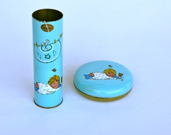 Vintage Italian baby shower gifts, hand painted brass tins