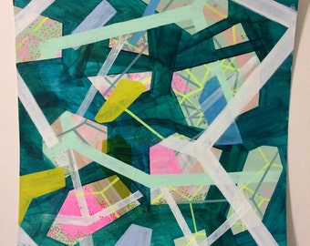 STUDIO SALE Teal Webbage, Painting on Paper