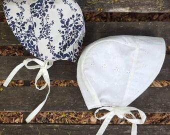 Brimmed Baby Bonnet Reversible - Sunhat - Girls Hat - Summer Hat - navy blue - eyelet - Vintage Inspired - new baby gift