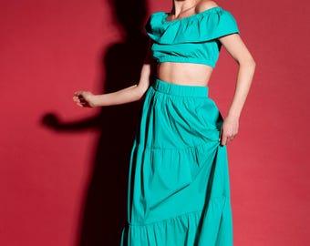 Green Maxi 2 Piece Set, Green Maxi Skirt, Green Ruffle Top, Spanish Skirt, Maxi Skirt, Boho skirt, boho clothing