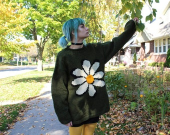 """90s Sweater OVERSIZED EQUADOR Vintage """"SweaterMan"""" Pullover long sleeve Wool Weave DAISY Flower Fall Winter Knits Jumper Sweater Medium Size"""