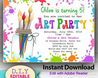 EDITABLE - Printable D.I.Y. Art Party Invitation. Children's invitations. Bright, colorful party announcement for kids. Edit at home!