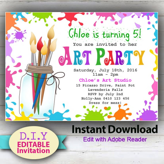 editable printable art party invitation. children's, Party invitations