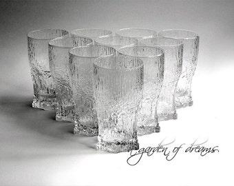 Iittala Aslak highball glass elegant glassware Tapio Wirkkala Finland ice crystal mid century modern glasses Scandinavian designer 1970