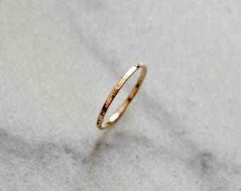 Simple Gold Ring 14k Simple Gold Band Solid Gold Band Gold Textured Ring Dainty Gold Ring