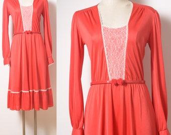 Vintage Dress, 70s Dress, Vintage red dress, Boho Dress, 70s Bohemian Dress, Vintage lace dress, Vintage Party Dress, Vintage bohemian - S/M