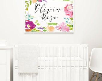 Custom Baby Name Print, Bright Floral Nursery, Above the Crib Sign, Baby Girl Nursery Art, Custom Name Art for Nursery, Baby Shower Gift