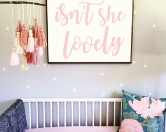Printable Nursery Art - Isn't She Lovely - Three Sizes for One Price - Baby Girl Nursery - Girl Nursery Print - Pink and White