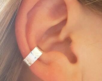 Hammered Ear Cuff, 925 Sterling Silver, Non Pierce Ear Cuff
