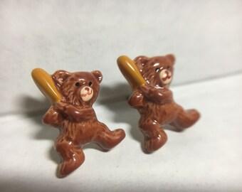 Vintage Hand Painted Baseball Teddy Bear Stud Earrings (ABX1E)